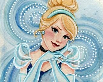 "ORIGINAL Cinderella 4x4"" Watercolor Painting."
