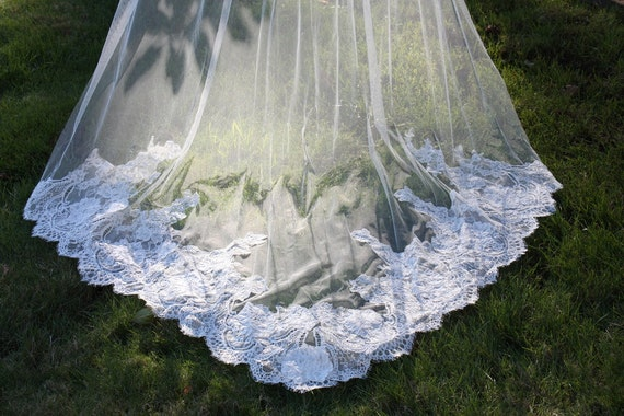 Veil, English Net Drop Veil, Blusher Veil, French Alencon Lace Veil, Cascade Veil, Cathedral Length Veil,  Lace Veil, Drop Veil- LINA VEIL