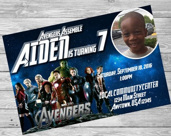 Avengers Photo Invitation, Avengers Printable Invitation, DIY Invitations, Boys Birthday Invitation, Avengers, Superhero Invitation