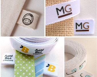 "40 Folded Labels TWILL Ribbon 2"" by 0.6"" - Custom Clothing Labels - Personalized Labels - Folded fabric tags"