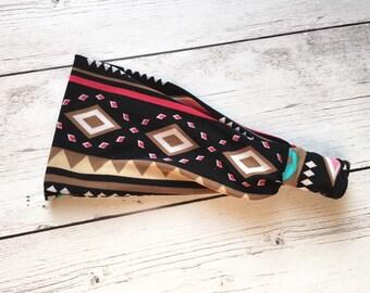 Black Tribal Headwrap, Pink Turquoise Headband Turban Knot Headband, Adult Headwrap, Women's Headband, Yoga, Running, Hair Wrap, Wide Band