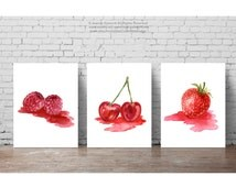 Strawberry Raspberry Cherry Fruit Red Nursery Wall Decor, Forest Fruits Kitchen Art Print set 3, Red Pink Dining Room Watercolor Painting