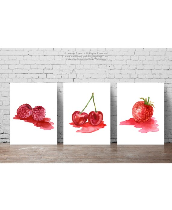 Strawberry Raspberry Cherry Fruit Red Nursery Wall Decor