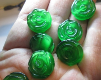 6 Vintage Green Glass Flowers
