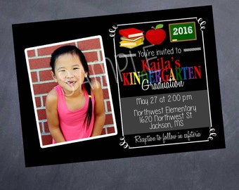 Printable Photo Graduation Announcement - Preschool OR Kindergarten - 5x7