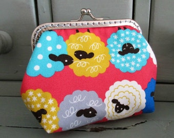 Sheep purse, multicoloured sheep, metal frame coin purse