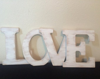 "10"" LOVE wooden letter, Shabby chic rustic letter,  Distressed wooden letter, Wedding letters"