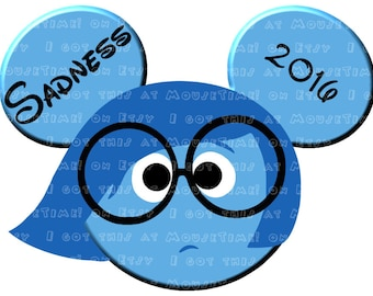 IRON-ON Sadness Ears - from Inside Out! - Mouse Ears Tshirt Transfer