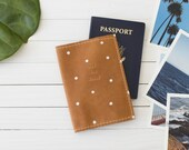Personalized See The World Polka Dot Cognac Leather Passport Wallet | The Armstrong