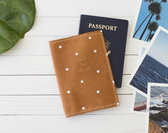 Personalized See The World Polka Dot Cognac Leather Passport Wallet, Travel Wallet, Passport Cover, Graduation Gift | The Armstrong