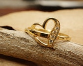 Diamond Gold Ring 0.05 Carats, Engagement Ring, heart ring, 14K Yellow Gold Ring, Size Selectable, love ring, heart engagement ring