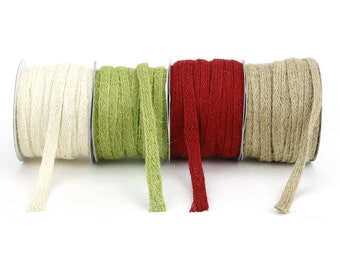 "Braided Burlap Trim - 3/8"" x 25 Yard Ribbon on Spool - Perfect for Crafts, Stationery, Embellishments (XHAJ110-xx)"