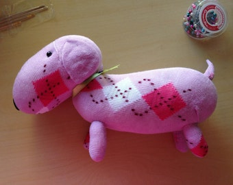 Pink with Pattern Dachshund Sock Doll