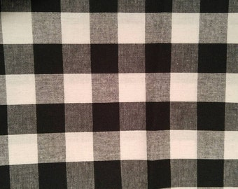 1 yard, Black and White Plaid Cotton Fabric
