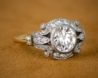 Estate Style 1.60ct Diamond Engagement Ring. Platinum and Gold Engagement Ring