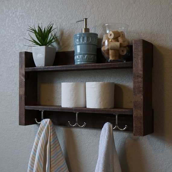 Modern rustic 2 tier bathroom shelf with nickel finish by for Rustic wood bathroom shelves