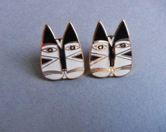 Laurel Burch Gato earrings, Laurel Burch cat earrings, laurel burch cat face earrings, Laurel burch black white cats, Laurel Burch earrings