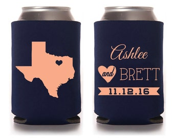 Custom Wedding Can Cooler, Wedding Favor - Any State with Heart