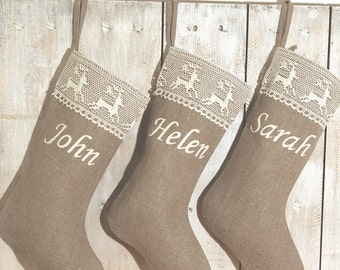 Personalized Christmas stocking Mr and Mrs Christmas stocking Scandinavian Christmas stocking  Classic stockings Classic Christmas Stocking