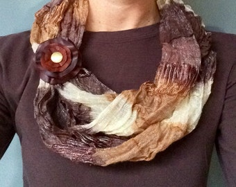 Brown Leather Flower Scarf Cuff
