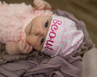 Girls Damask pink print embroidered personable hat baby shower cap present gift newborn