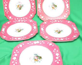 Wedgewood (8 5/8 in) Plate (5) Queens Ivory Pink border Bouquet