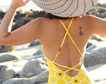MADE TO ORDER: BeeHive One Piece Cut Out Swimsuit
