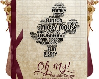 Mickey Mouse Word Cloud Subway Art Word Art Svg Dxf Eps Png Cutting Files