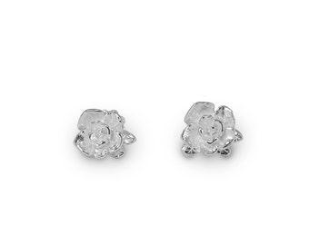 Mini Rose Stud Earrings, Rose Earrings, Stud Earrings, Sterling Silver Earrings, Handmade