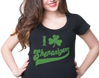 St. Patrick's Day Party Tee Shirt Shamrock Shenanigans Clover Tee Shirt Birth Announcement Tshirt