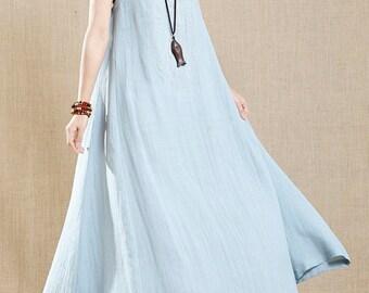 Cotton dress,maxi dress,long dress,white dress ,Light blue dress,Vest dress,elegant,women dress,summer dress,sheer dress-Women Clothing 8285