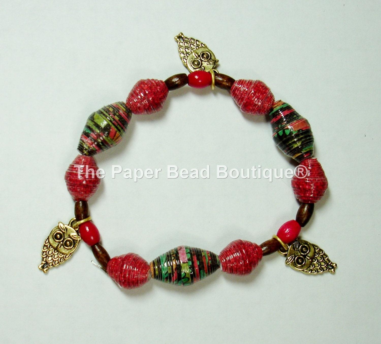 Paper Bead Bracelet Handmade Jewelry Accessories Owls Fall