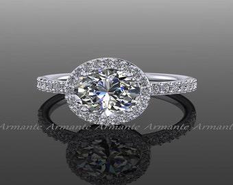 Oval Moissanite Engagement Ring, 14K White Gold Diamond And Forever Brilliant Moissanite Ring RE00055