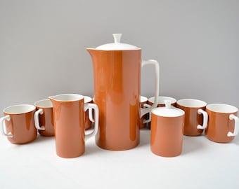 Harmony House Tierra ironstone tea set; mid century modern tea set; burnt orange coffee set/tea set