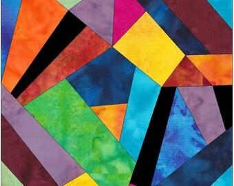 Complex Crazy Patch 5 Paper Foundation Piece Quilting Block Pattern PDF