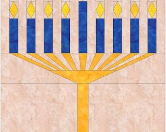 Menorah Hanukkah Paper Piece Foundation Quilting Block Pattern