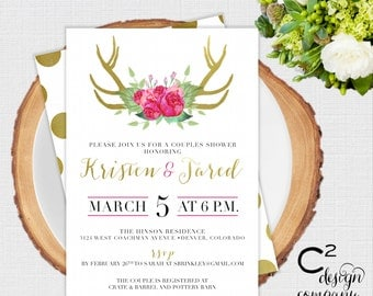 Floral Antlers Couples Shower Invitation