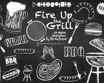 Barbeque Cliparts, Chalkboard Grill Digital Clip Art, Chalk Beer, Burger Illustrations, White Overlays C208