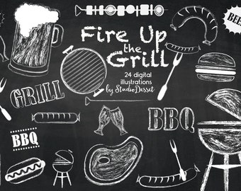 Barbeque Cliparts, Chalkboard Grill Digital Clip Art, Chalk Beer, Burger Illustrations, White Overlays for Personal and Commercial Use