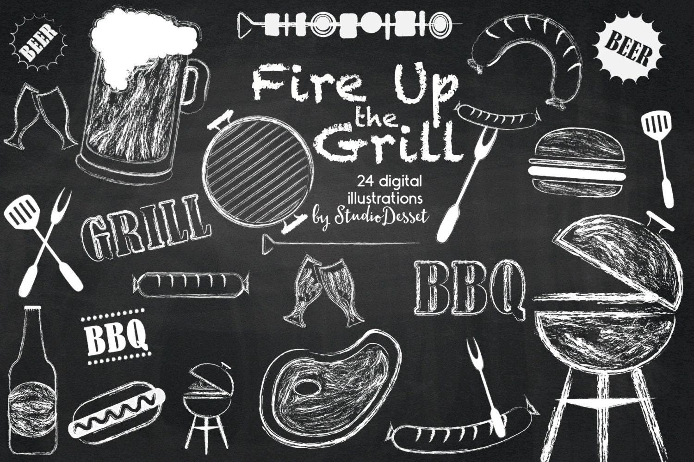 Barbeque Cliparts Chalkboard Grill Digital Clip Art