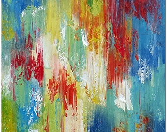 Colors of Red Blue White Yellow Green Pink - Hand Painted Palette Knife Modern Abstract Oil Painting On Canvas