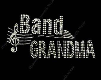 "Rhinestone Transfer "" Band Grandma "" Crystal Iron On, Hot Fix, Bling Music"