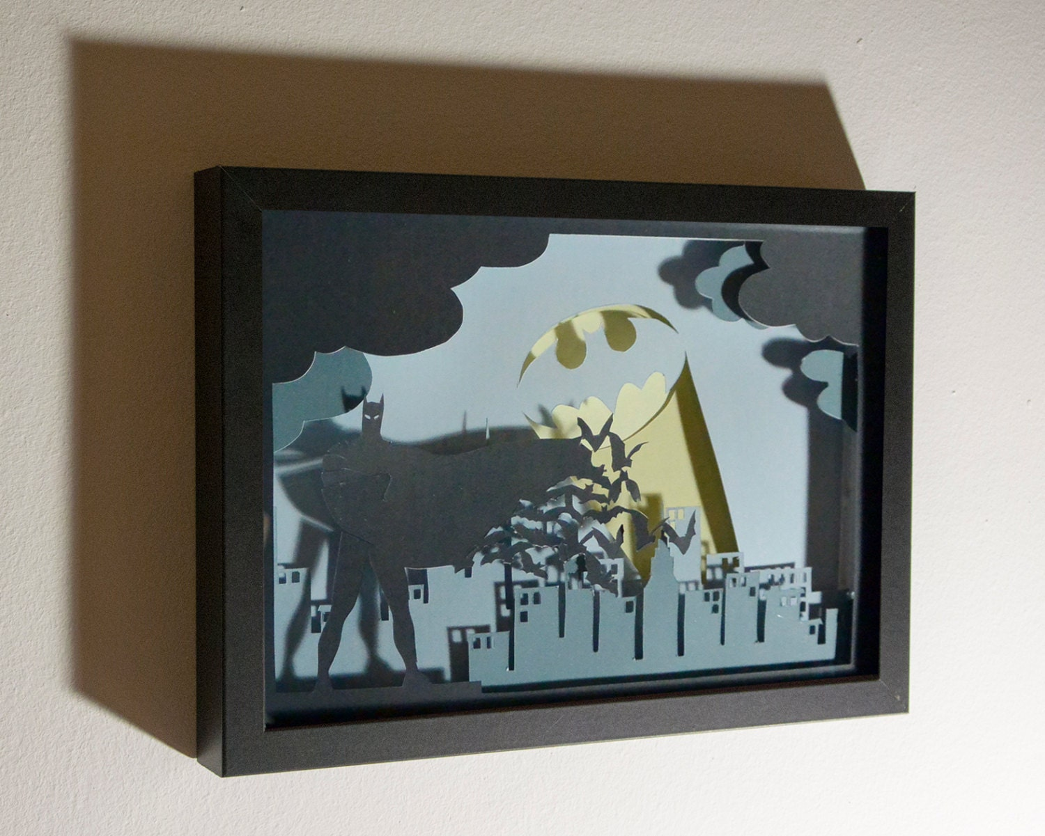 Batman framed hand paper cut special wall decor unique gift zoom amipublicfo Image collections
