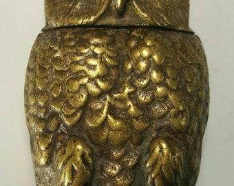 Antique Brass Owl Match Safe
