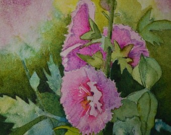 Pink hollyhocks small painting fine art painting watercolor painting original floral watercolor painting watercolor flower art garden flower