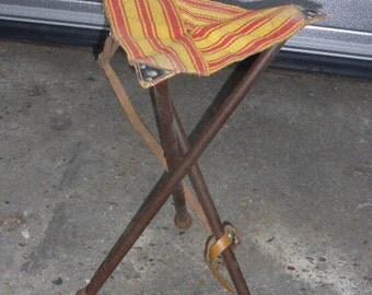 Original vintage shepherd stool, camp, foldable and portable