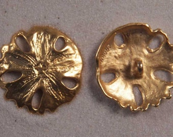 """Set of 6 JHB Intl Gold Round Metal Buttons Sand Dollar 13/16"""" or 20 mm lyk0039"""