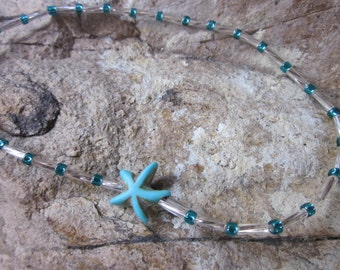 Dainty Silver glass tube beads turquoise stone starfish tropical beach bohemian stretch stackable  yoga surfer  anklet / bracelet