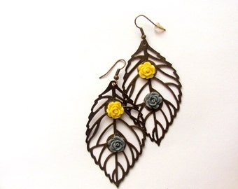 Yellow and Grey Boho Chic Flower Jewelry Dangle Earrings