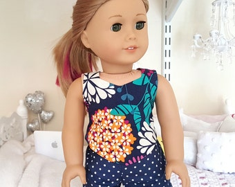 American girl doll floral top and shorts